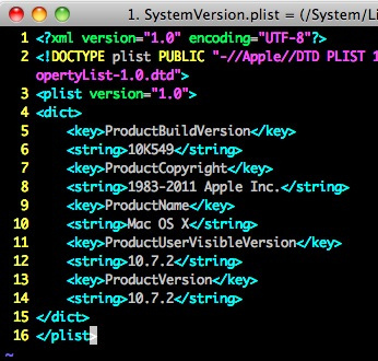 1. SystemVersion.plist = (/System/Library/CoreServices) - VIM