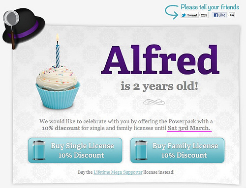 Alfred Birthday discount
