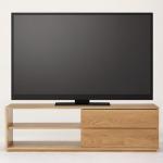 ソファーの後方からでも観られる高さのTVボードに無印良品のスタッキングキャビネットを購入